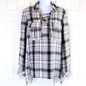 Como Vintage | 'Boyfriend Shirt' Plaid Tunic